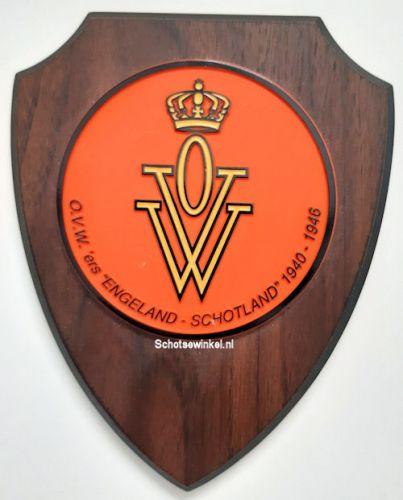 Wapenschild O.V.W. 19 x 15 cm