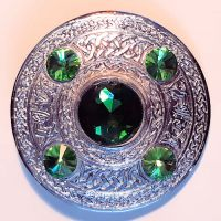 Plaid Broach, Green glass in center + 4, 8.5 cm