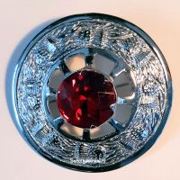 Plaid Broach, red glass in center, 8 cm