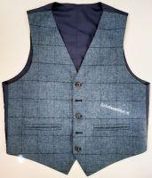 Waistcoat Use Blue Window Pane Flinstone Tweed, medium