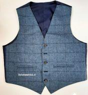 Waistcoat Use Blue Window Pane Flinstone Tweed, Large
