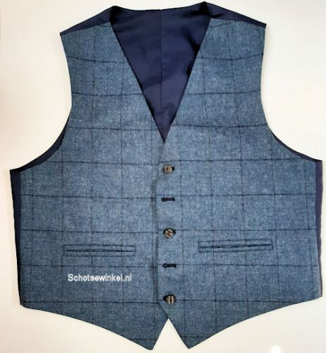 Waistcoat Use Blue Window Pane Flinstone Tweed, Large
